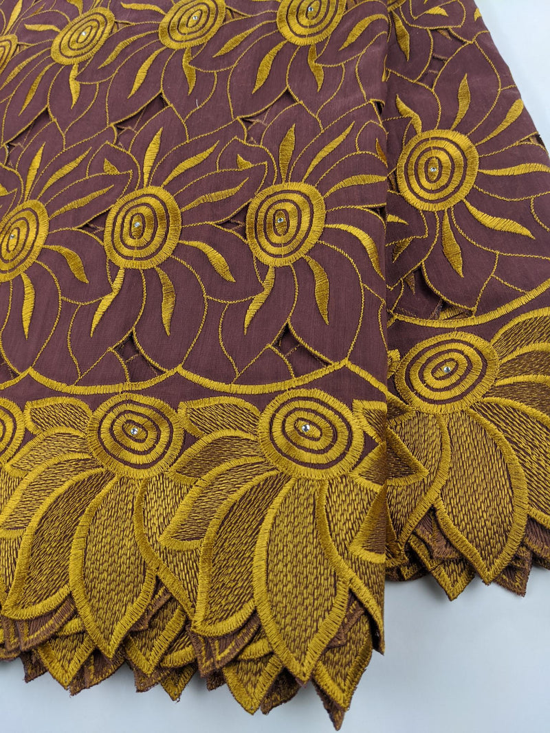 Brown & Gold Handcut Cotton Lace