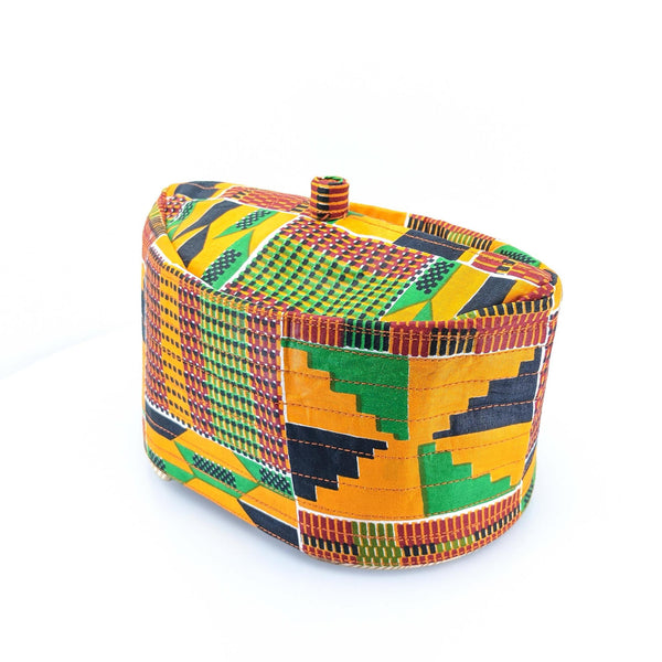 Kente Orange Kufi Cap
