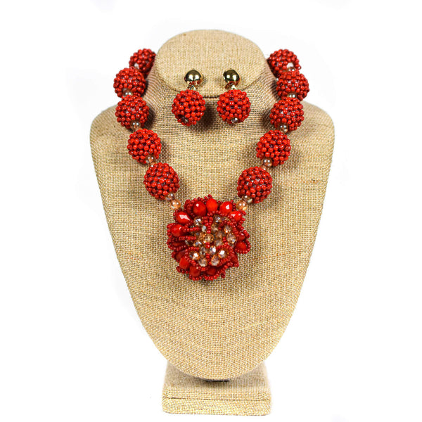 Red Ball Beaded Necklace