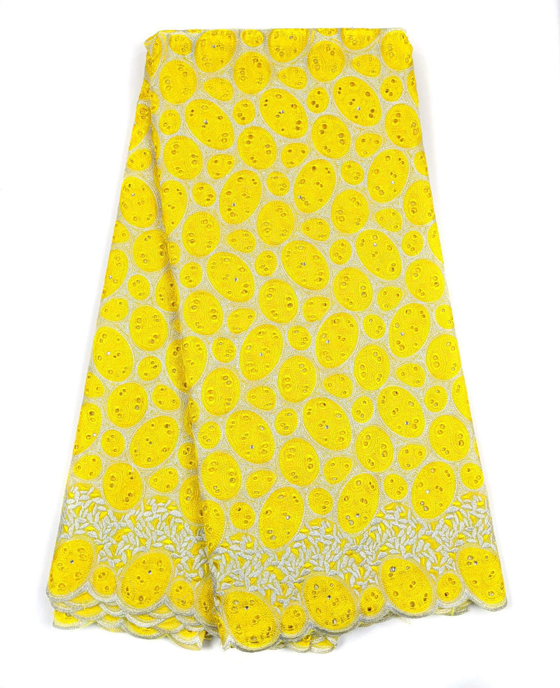 Yellow & Silver Cotton Lace