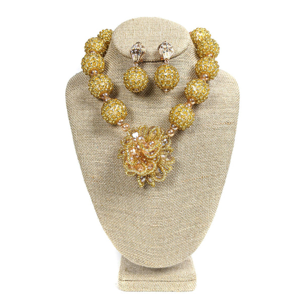 Gold Ball Beaded Necklace