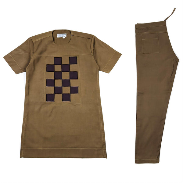 Tan Brown Short Sleeve Set