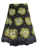 Black, Silver & Green Cotton Lace
