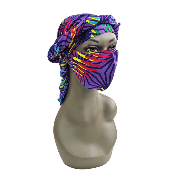Purple Ankara Head Scarf and Face Cover