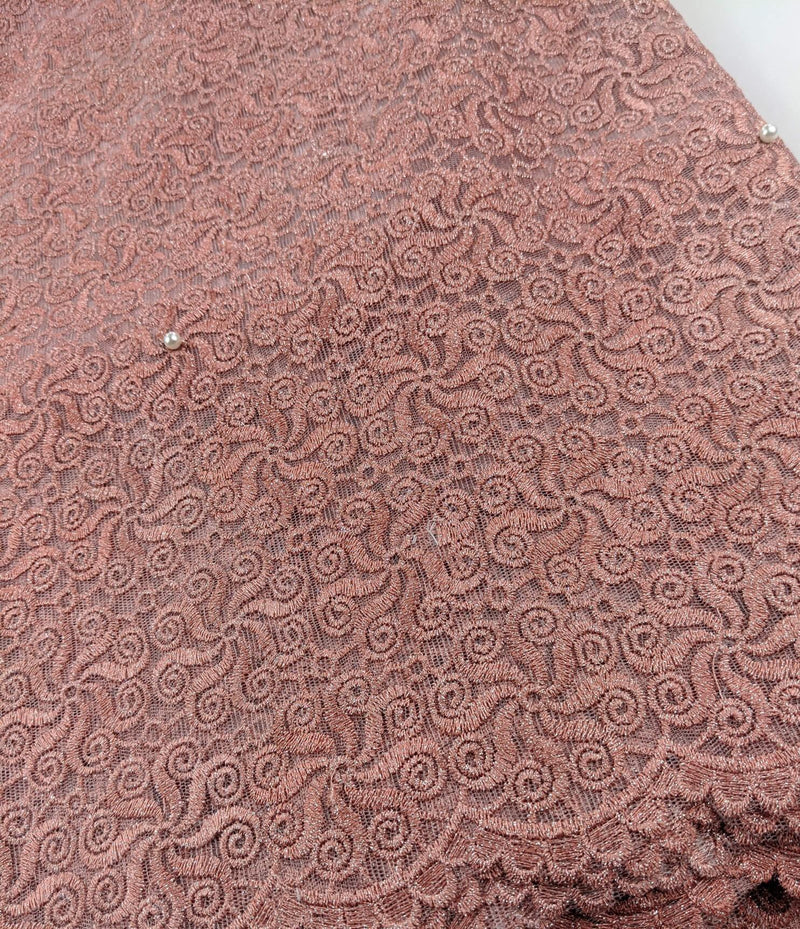 Peach Cord Net Lace