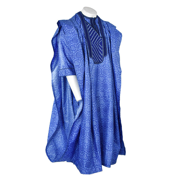 Blue Brocade Agbada 3pc Set