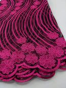 Pink & Black French Net Lace