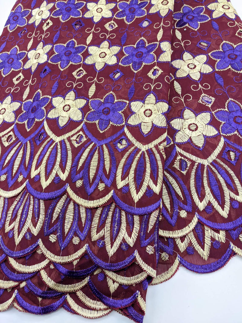 Purple, Gold & Brown Cotton Lace