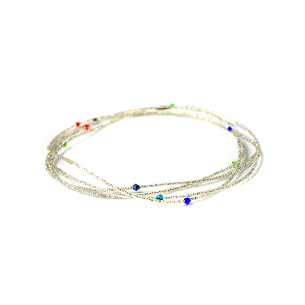 Silver Multicolored Clasp Waist Beads
