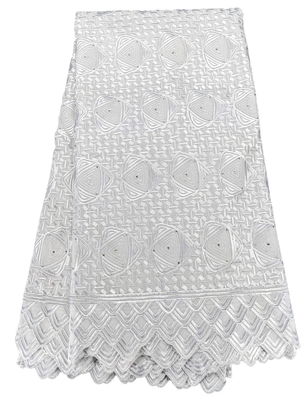White Unique Cotton Voile Lace