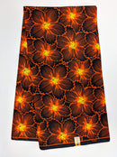 Orange Floral African Wax Print Fabric - 6 Yards