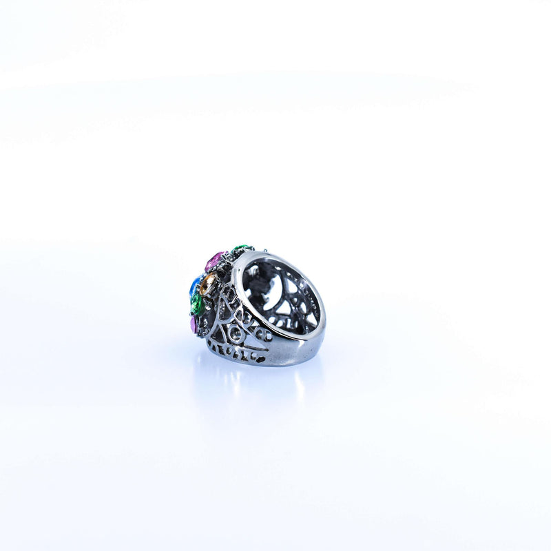 Women's Silver Ring With Multi-colored Crystal