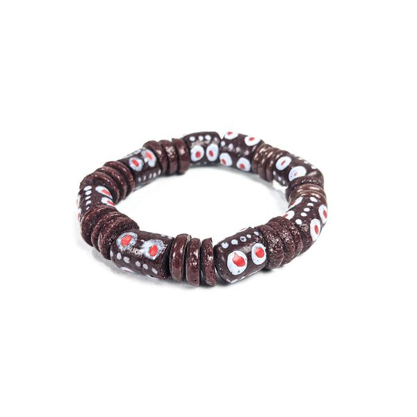 Brown (Krobo) Recycled Glass Beads Bracelet