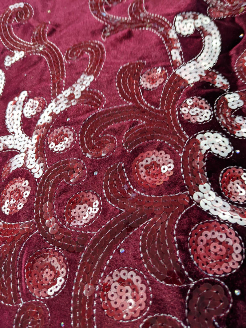 Wine Velvet George Fabric