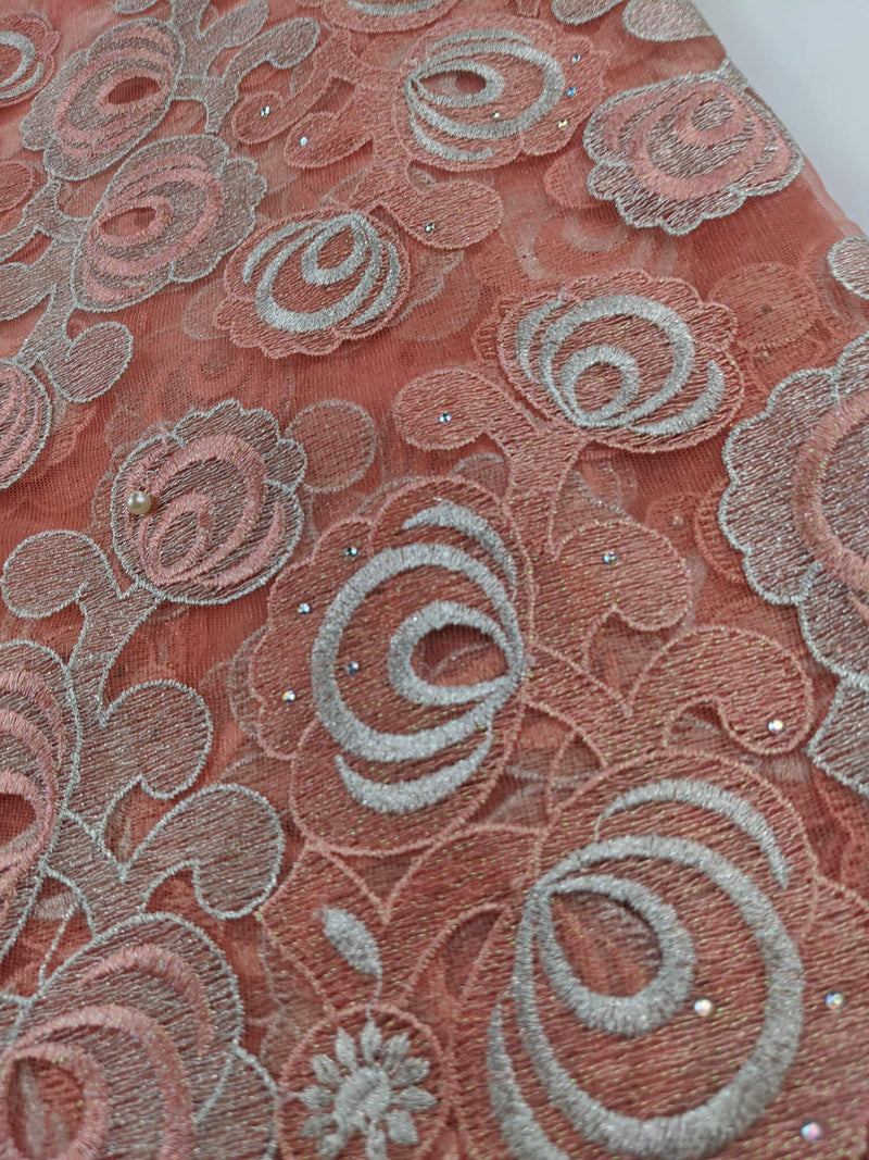 Peach & Silver French Net Lace
