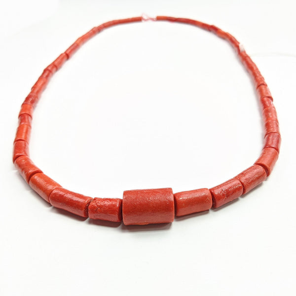 Red Long Coral Bead Necklace with Large Coral Pendant