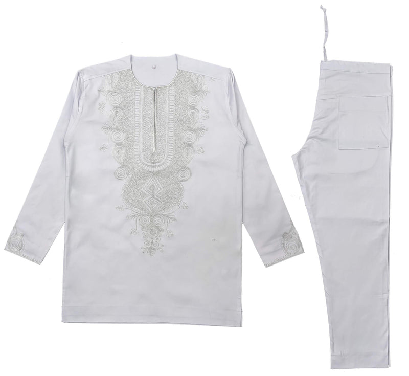 White & Silver Men Embroidery Long Sleeve Set