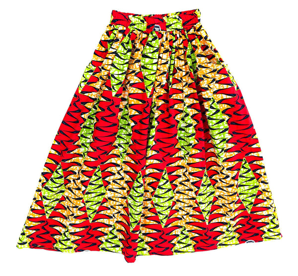 Handmade Red Multi Ankara Print Midi Skirt