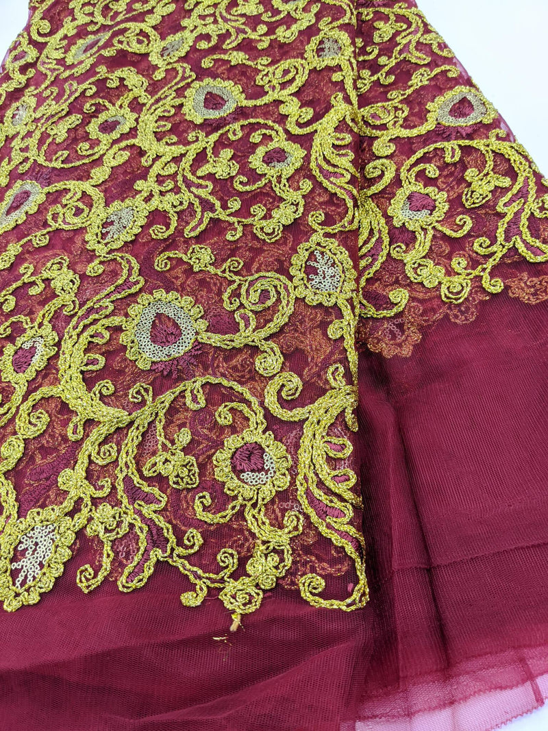 Red & Gold French Net Lace
