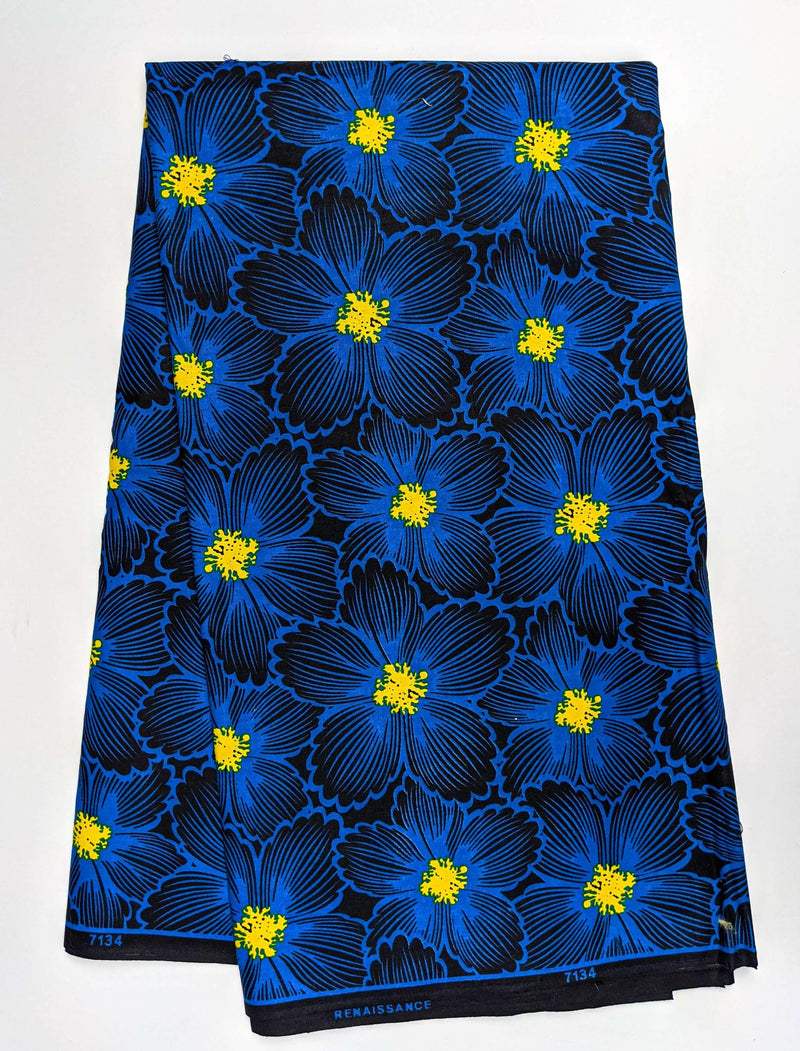 Blue Floral African Wax Print Fabric - 6 Yards