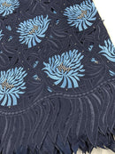 Blue & Silver Handcut Cotton Lace