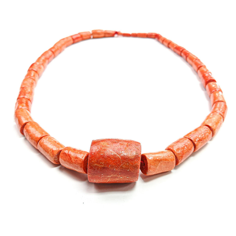 African Necklace Aged Light Coral Beads & Large Coral Pendant