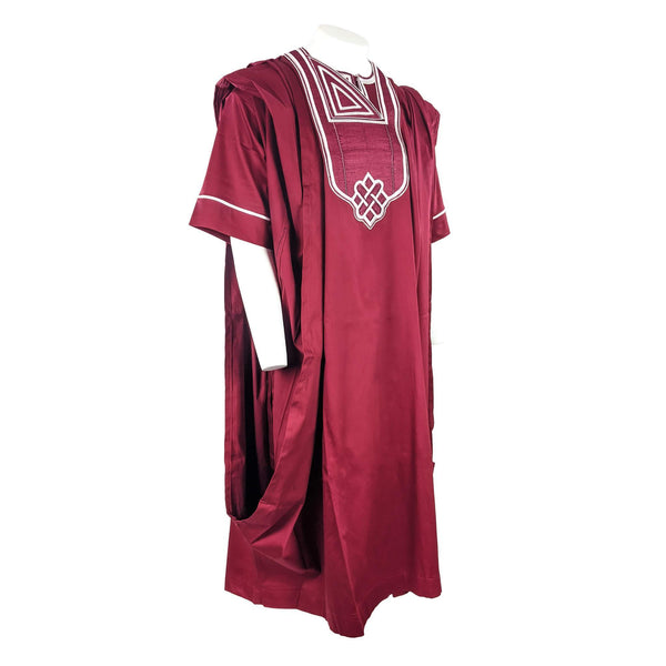 Wine Agbada 3pc Set