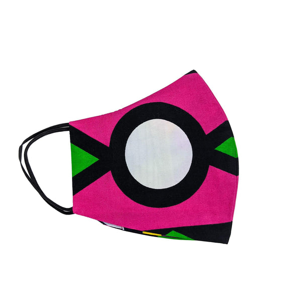Pink & Green Face Mask - African Patterns