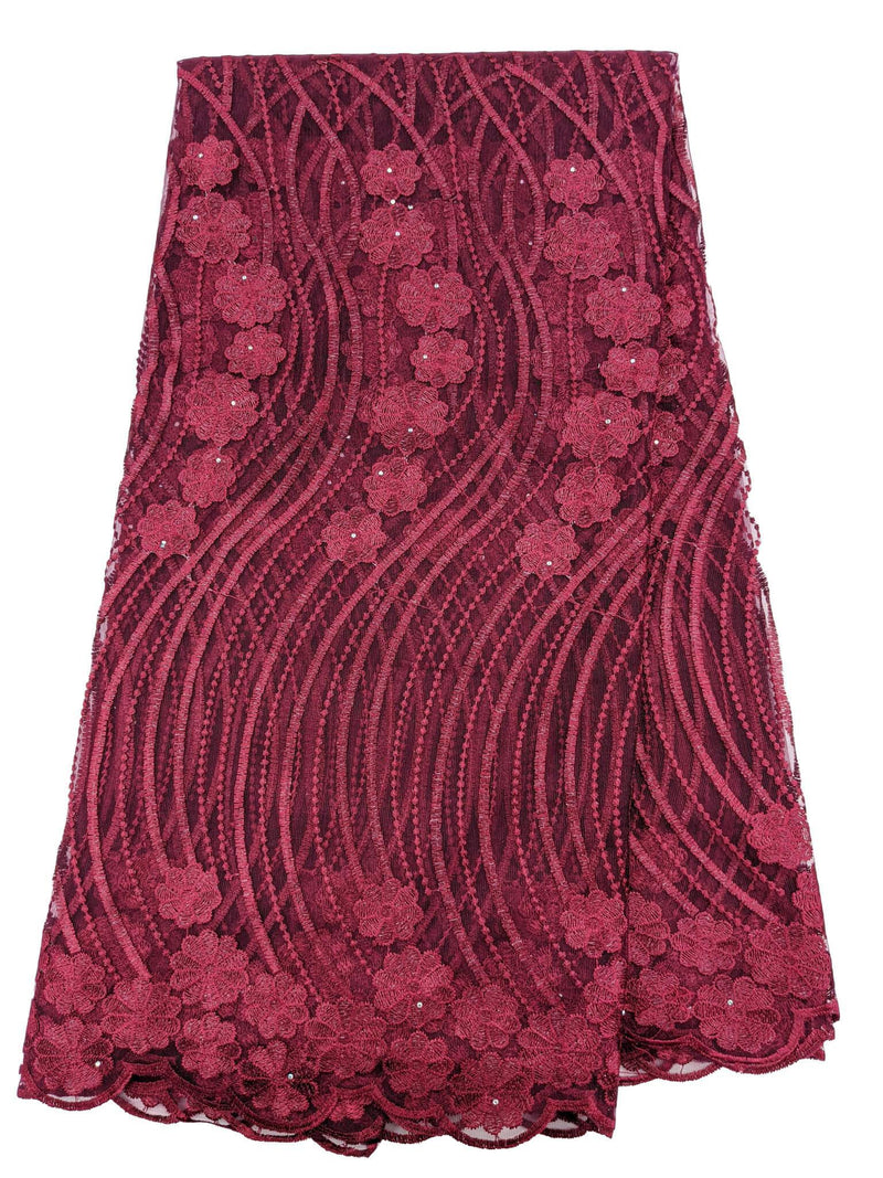 Wine French Net Lace