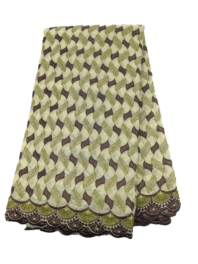 Brown & Green Cotton Lace