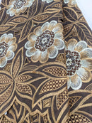 Brown & Gold Cotton Lace