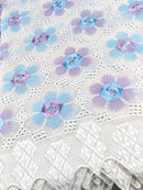 Blue, purple & Snow-White Voile/Cotton Lace