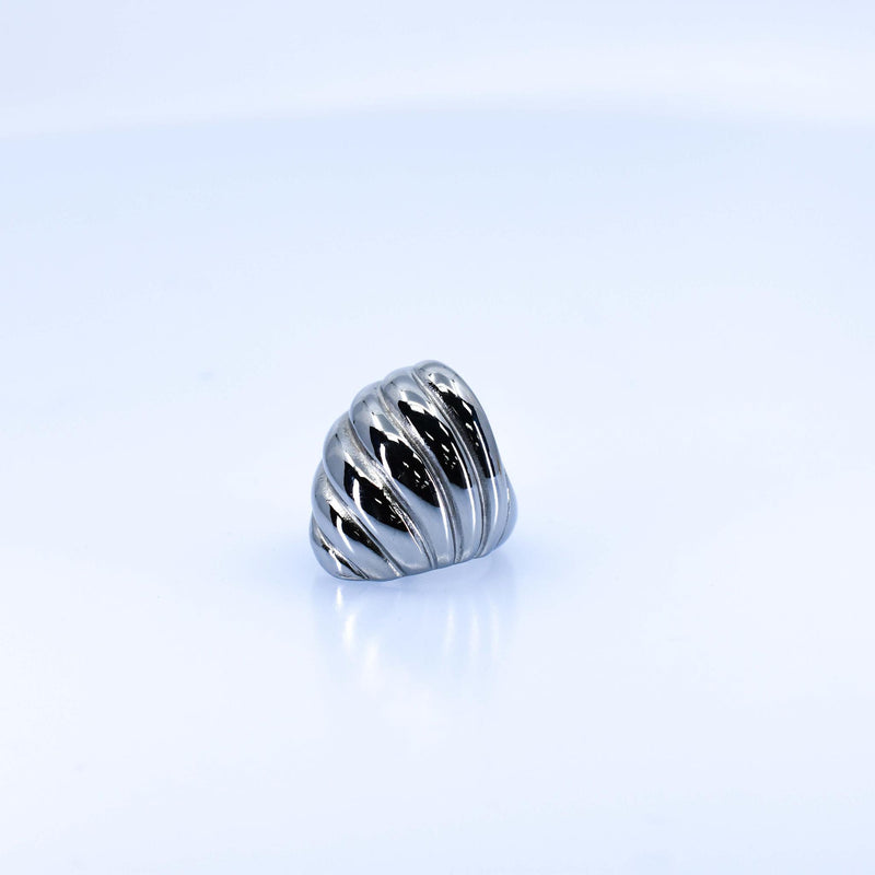 Women's Silver Striped Ring