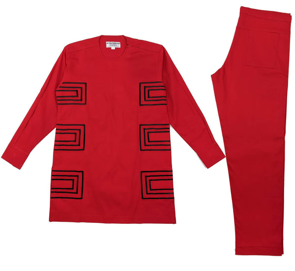 Red & Black Men Embroidery Long Sleeve Set