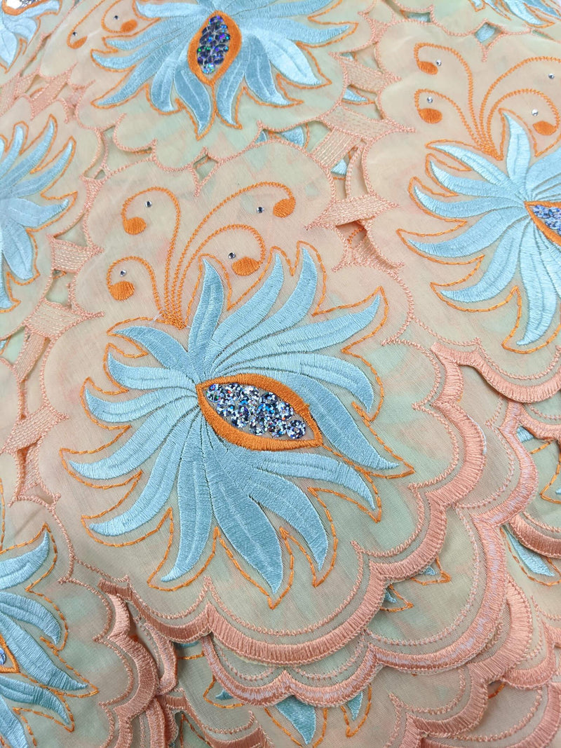 Orange & Blue Handcut Cotton Lace