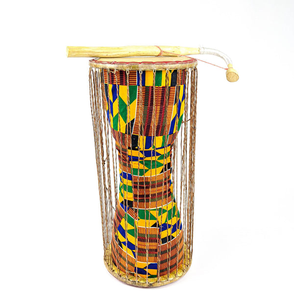 Classic African Talking Drum with Curved Stick