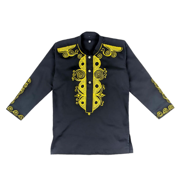 Men's Collard Black & Gold Embroidery Long Sleeve Top