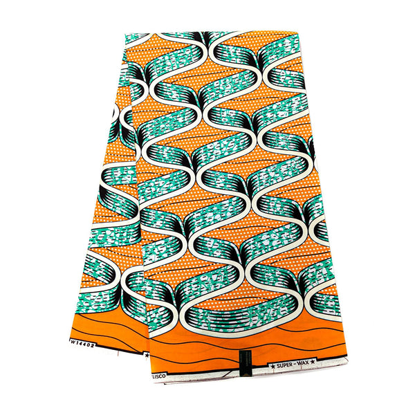Golden - Orange & Green Wax Print Fabric - 6 Yards