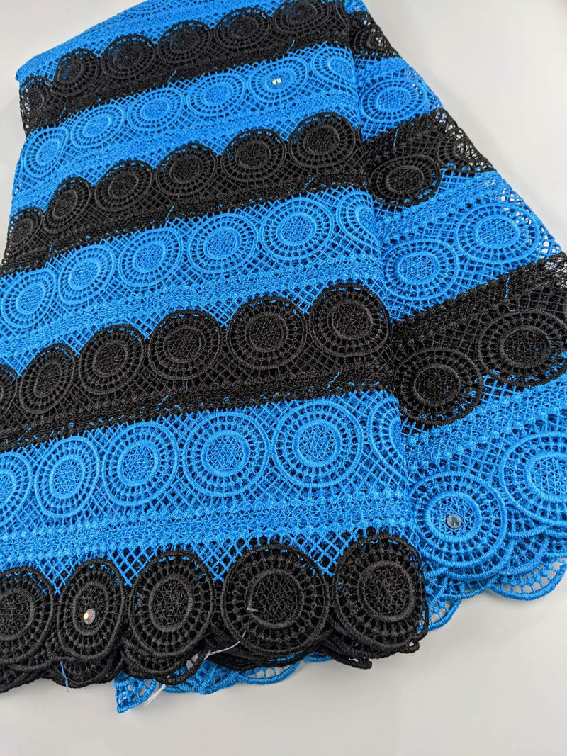 Two Toned Blue & Black Cord Lace