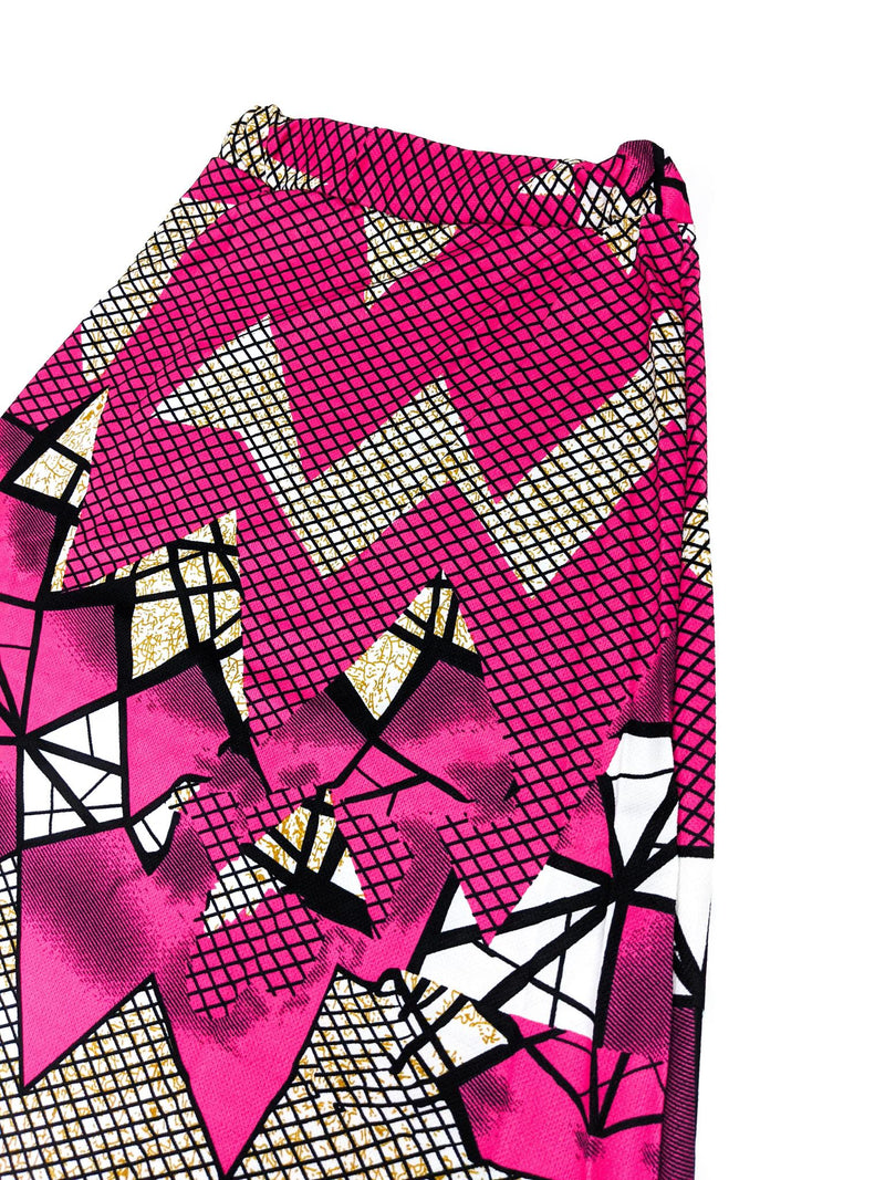 Pink & Black Print Long Skirt