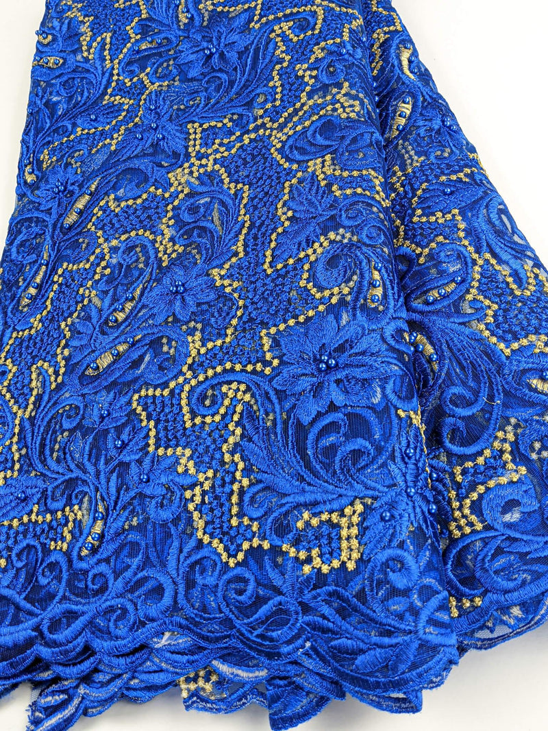 Blue & Gold French Lace
