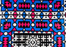 Blue and Pink Geometric African Wax Fabric