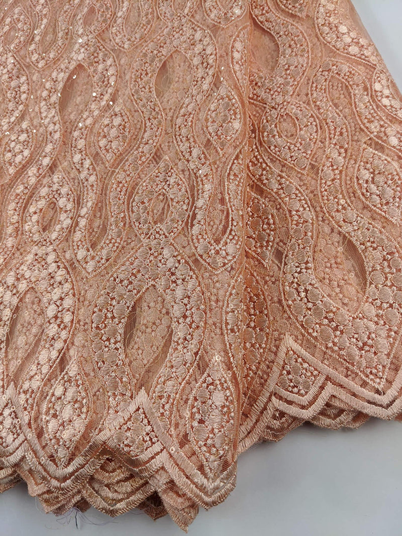 Peach French Net Lace