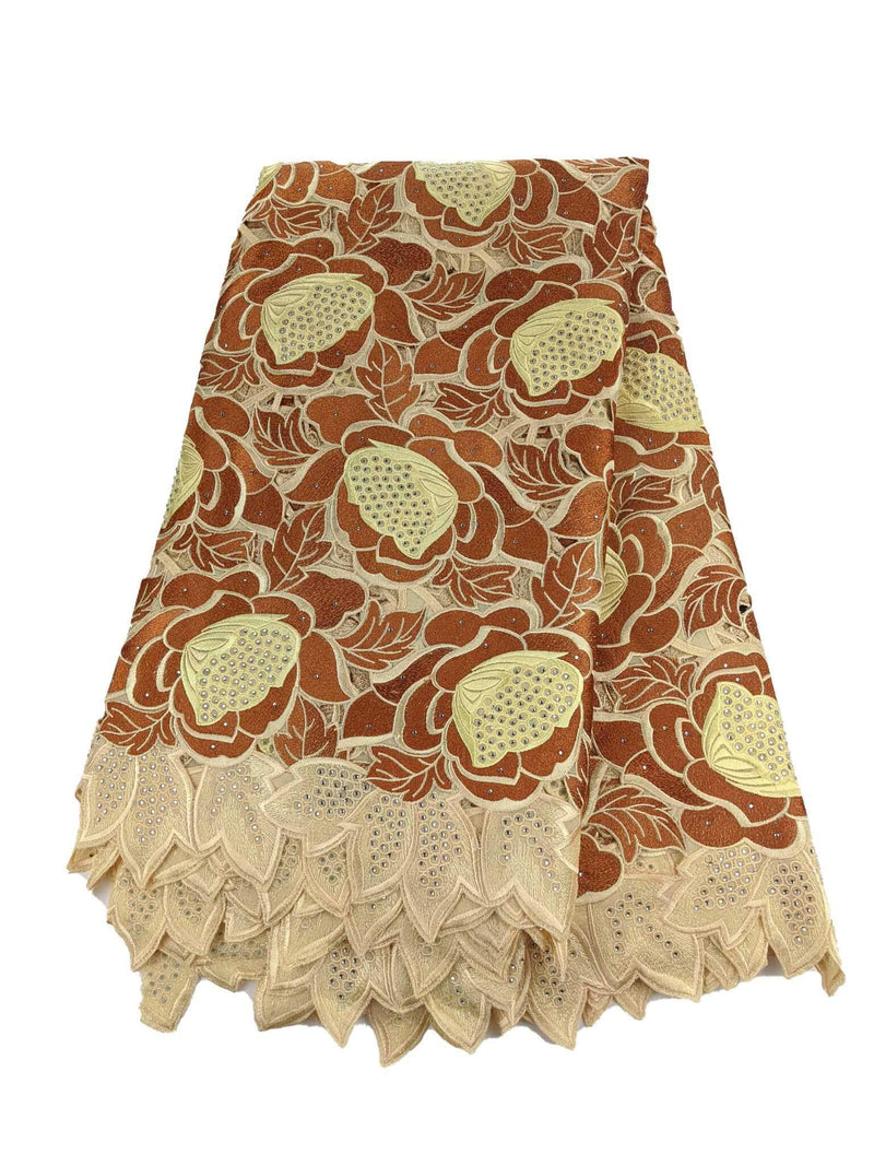 Brown & Gold Exquisite Cotton Lace