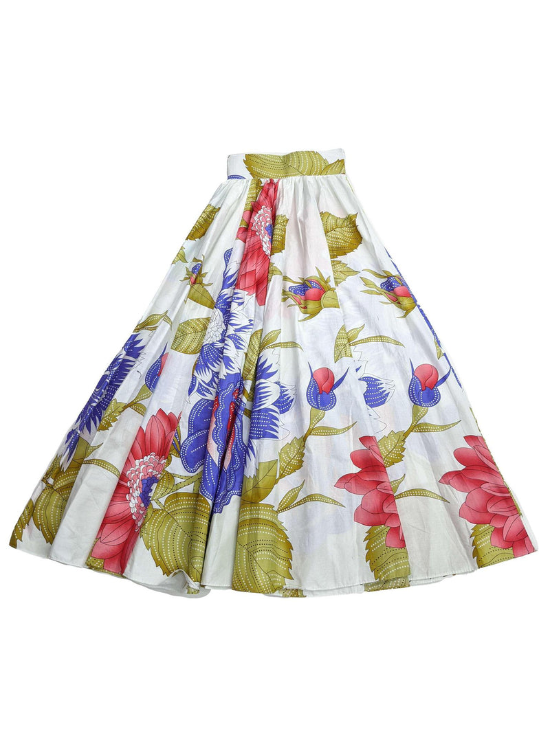 White, Blue and Red  Floral Wax Long Skirt