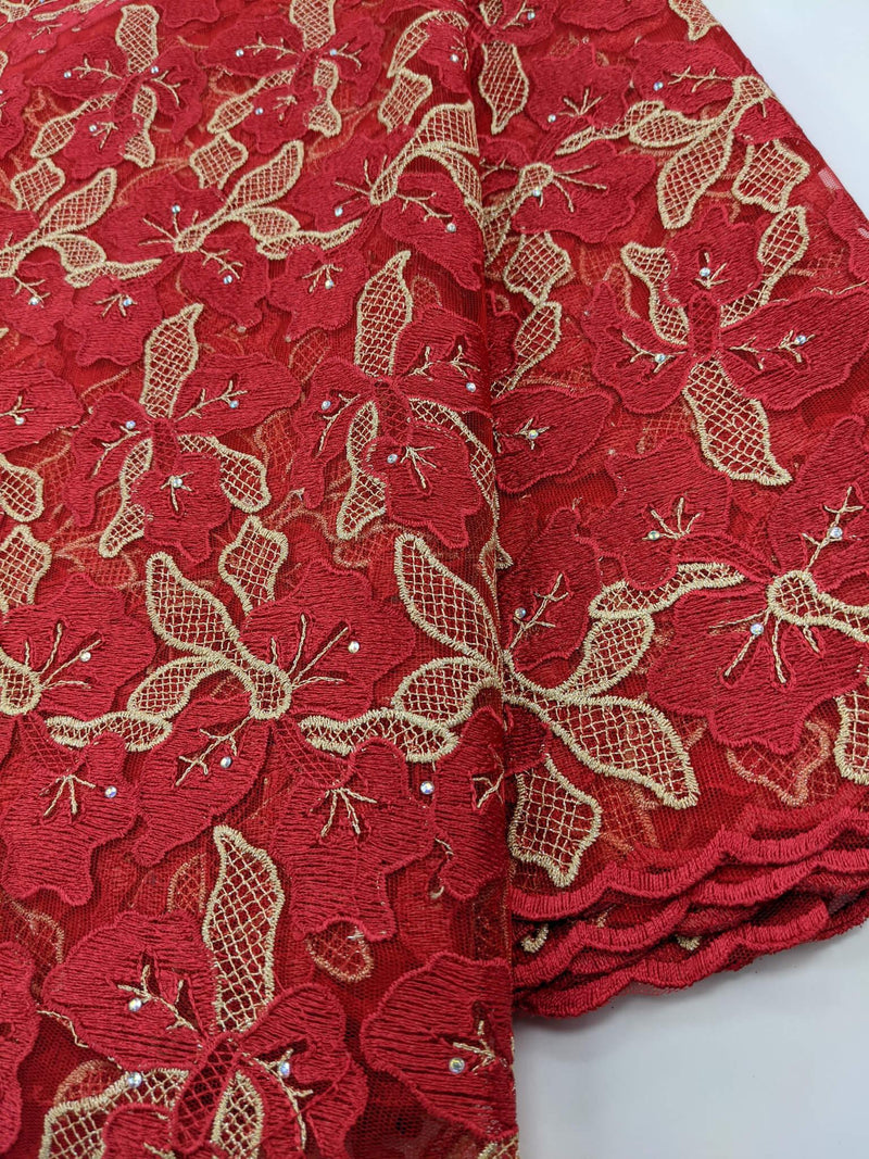 Red & Gold Net Lace