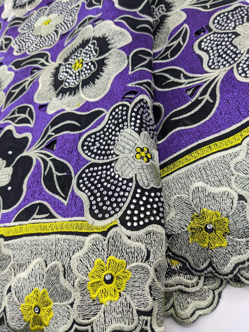 Purple, Black, & Yellow Cotton Lace