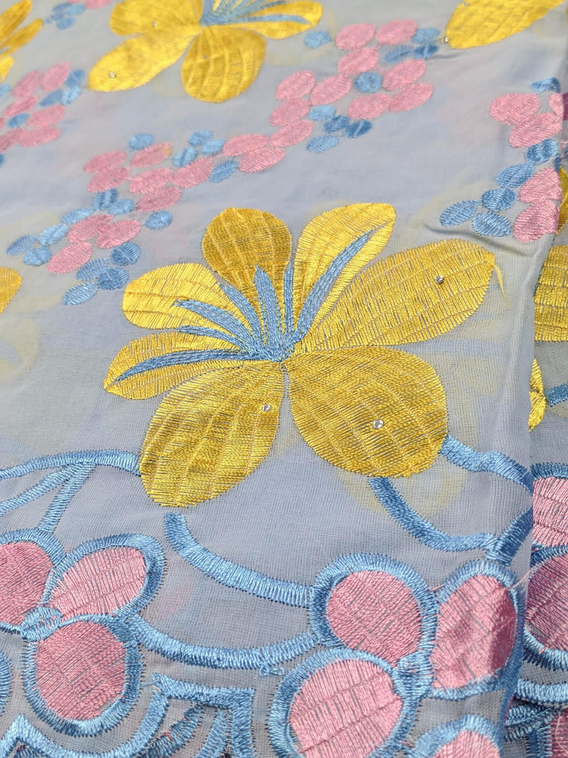 Blue & Yellow Cotton Lace