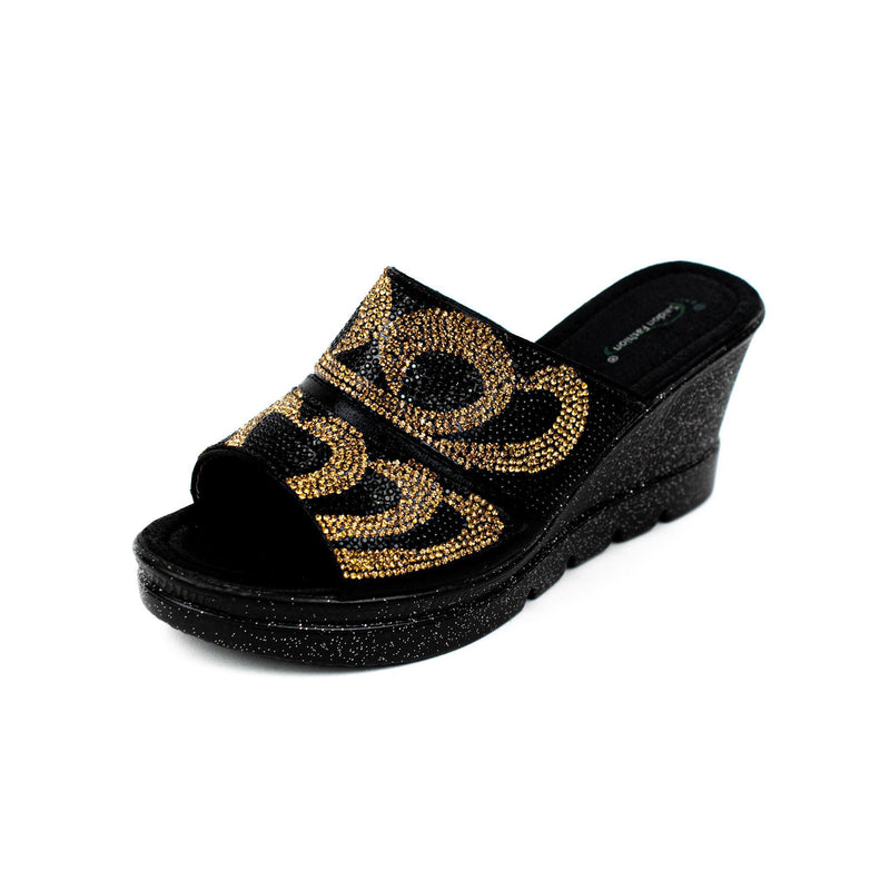 Black & Gold Wedge Sandal Slippers