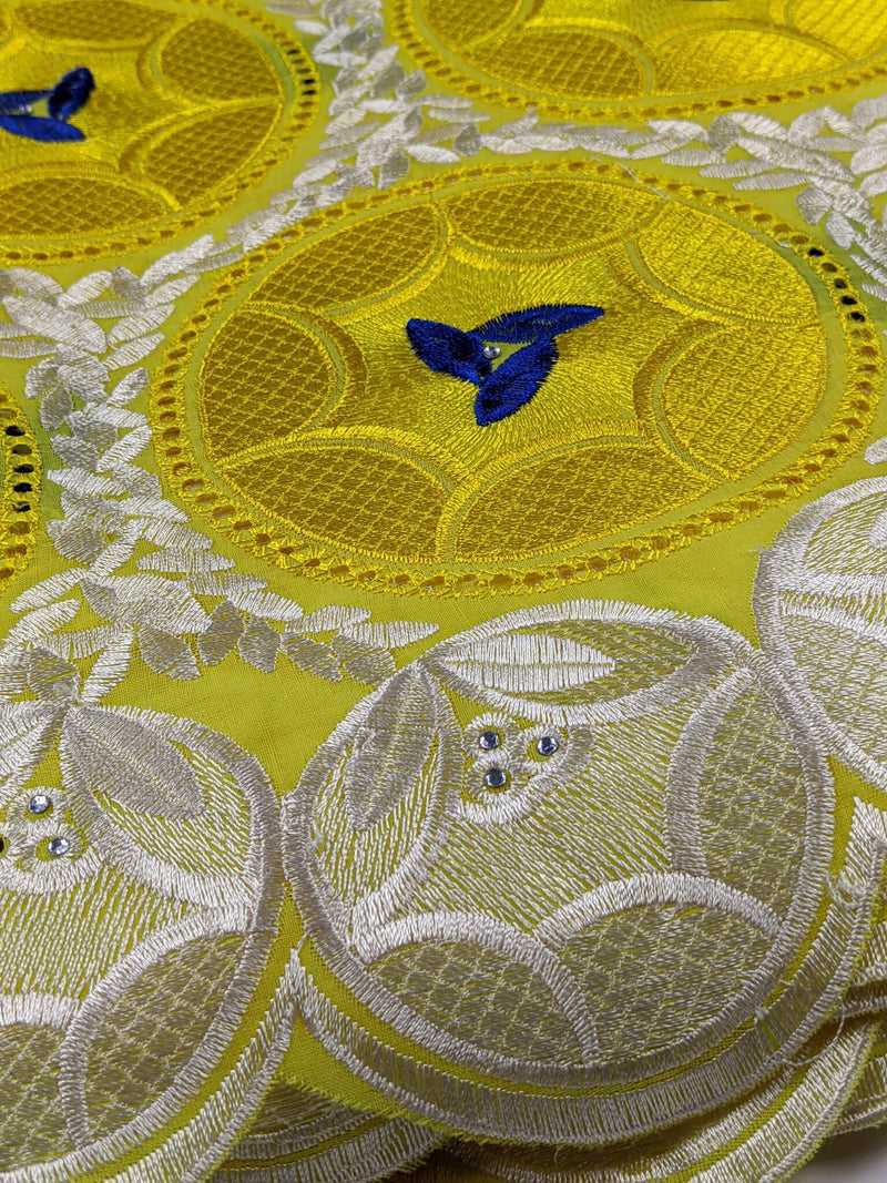 Yellow & Blue Cotton Lace